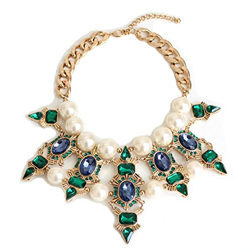 Crystal Vintage Necklace - Teniu Fashion Crystal Flower Necklace Statement Collar Necklace Vintage Jewelry For Women Necklace (Green)