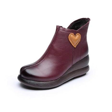 Calzado de mujer, botines negros de viento gruesos hechos a mano de otoño / invierno hechos a ...