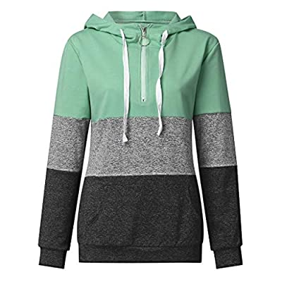 Sttech1 Women 1/4 Zip Patchwork Long Sleeves Lapel Hooded Casual Pullover Blouse with Pocket: Clothing