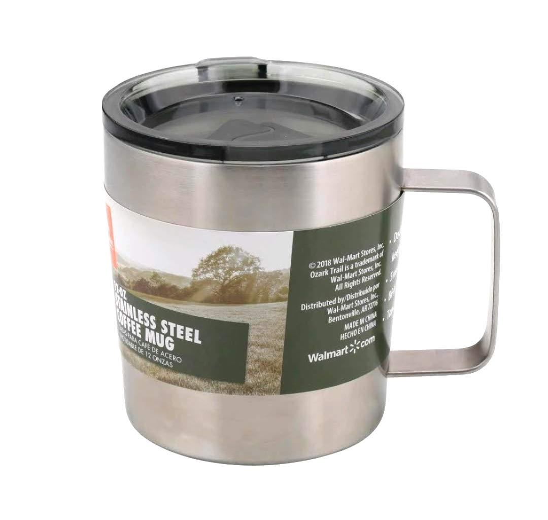 Ozark Trail Coffee Mug 12 oz Stainless Steel Vacuum Insulated with Lid and Handle