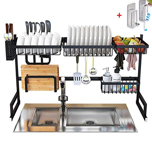 Dish Drying Rack Over Sink Display Stand Drainer Stainless Steel Kitchen Supplies Storage Shelf Utensils Holder Kitchen Supplies Storage Rack 85cm (Black) ()