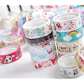 La Tartelette Cute Mixed Colors Japanese Washi Tape Hobby Decorative Crafting Tape, Random Color – Pack of 10 Pcs