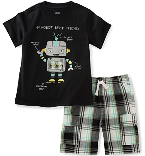 Kids Headquarters Baby Boys 2 Pieces Shorts Set-Tee Top, Black, 12M