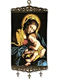 Catholic Gift Madonna and Child Tapestry Large Icon with 3 Crosses 17 Inch