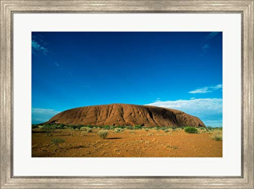 - Rock Formation on a Landscape, Ayers Rock, Uluru-Kata Tjuta National Park, Northern Territory, Australia Framed Art Print Wall Picture, Silver Scoop Frame, 34 x 25 inches