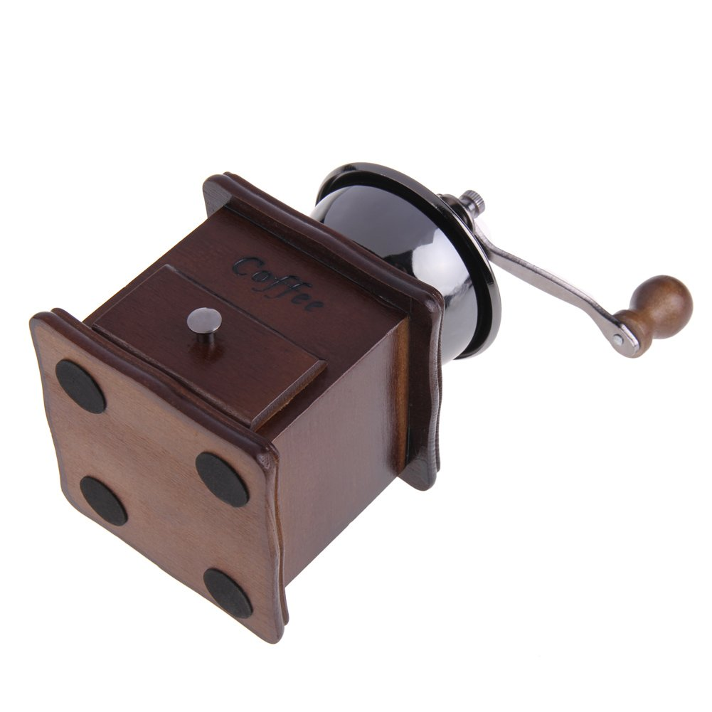 ttnight Mini Manual Coffee Grinder Mill Wood Stand Bowl Antique Hand Coffee Bean Grinder (Maroon) by TTnight (Image #5)