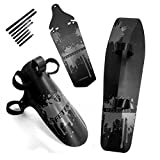 FETESNICE Cycling MTB Mountain Bike Road Bicycle Front Rear Mudguard Fender and Front Clip-on Bicycle Down Tube Fender Set Mud Guard (Gray)