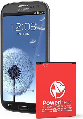(PowerBear Compatible with Samsung Galaxy S3 Battery (2,100 mAh) Li-Ion Battery for The Galaxy S3 [I9300, I9305 LTE, I535 (Verizon), T999 (Tmobile), I747 (AT&T), L710 (Sprint)])