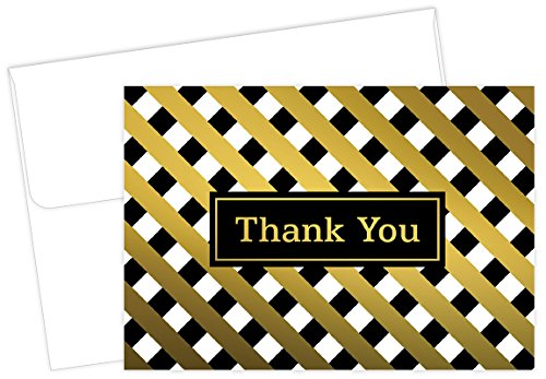Lattice Gold Foil Thank You Note Cards - 50 Cards & (Card Lattice)