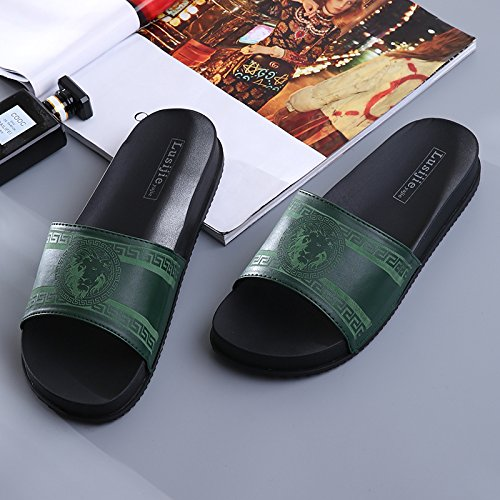 Y-Hui interiores domésticos zapatillas Antideslizante, cuarto de baño, zapatillas de baño, hombre de la casa de veraneo de plástico inferior grueso, Zapatillas, zapatos de hombre Blackish green