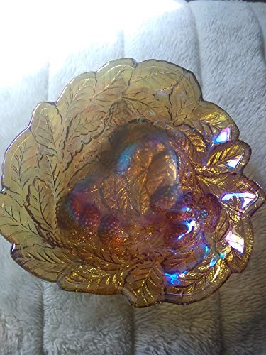 - Antique Vintage Indiana Glass Depression Glass Carnival Glass Loganberry Raised Berries & Leaves Marigold Gold Amber Candy Dish Bowl