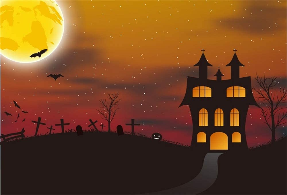 CSFOTO 10x8ft Halloween Backdrop Halloween Theme Background for Photography Trick or Treat Theme Grimace Pumpkin Cemetery Twilight Misty Forest Foggy Child Baby Portrait Vinyl Wallpaper