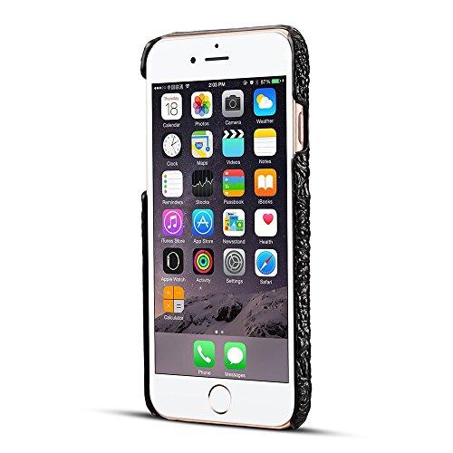 JIALUN-carcasa de telefono Cubierta trasera resistente resistente al choque de la caja de parachoques del cuero genuino de la alta calidad del grano 3D del cocodrilo de la alta calidad para el iPhone  Black