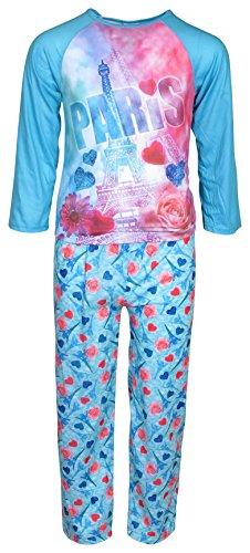 'Sweet & Sassy Girls Sleepwear Set, Long Pajamas Pants with Long Sleeved Top, Blue Paris, Size 5/6' (Girls Long Sleeved Thermal)