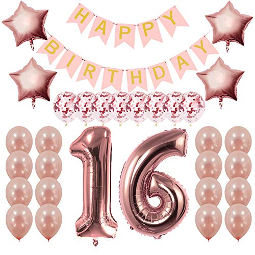 Rose Gold Sweet 16 Party Supplies - Sweet 16 Gifts for Girls - 16th Birthday Party Decorations - Happy Birthday Banner, 16 Number and Confetti Balloons -