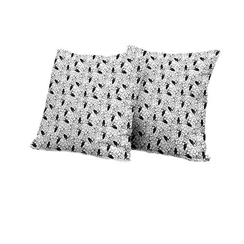 All of better Travel Pillowcase Bulldog,Monochrome Doodle Portraits with Paw Traces Best Friend Animal Lover,Black White and Pale Grey Cute Cushion Covers 16x16 INCH 2pcs