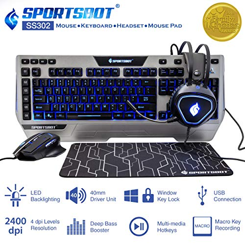 (SportsBot SS302 4-in-1 LED Gaming Over-Ear Headset Headphone, Keyboard, Mouse & Mouse Pad Combo Set w/ 6 Programmable Macro Keys, 3 Macro Modes, 40mm Speaker Driver, Microphone)