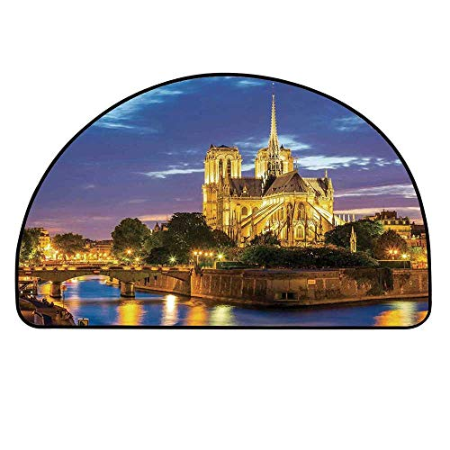 YOLIYANA Paris Decor Half Circle Rug,Notre Dame Cathedral at Dusk in Paris France Riverside Scenery Reflection Door Mat,37.4