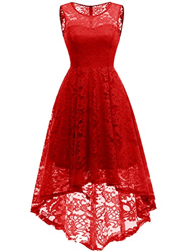 MUADRESS 6006 Women's Vintage Floral Lace Sleeveless Hi-Lo Cocktail Formal Swing Dress 3XL Red