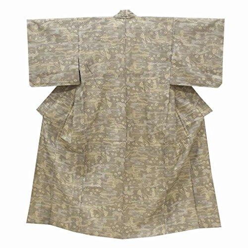 (着物ひととき) リサイクル 大島紬 中古 正絹 単衣 つむぎ 風景文様 裄63cm 茶系 裄Sサイズ 身丈SSサイズ ll1736b