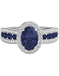10K White Gold Natural Blue Sapphire and 1/4 cttw Round Single-Cut Diamond (I-J Color, I2-I3 Clarity) Ring, Size 7