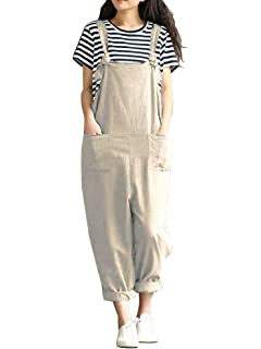 Style Dome Femme Combinaisons de Playsuit Coton /Ét/é Pantalon Irr/éguliers Sarouel Salopette Jumpsuit Casual Large Grande Taille Vert fonc/é EU 46