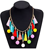 Shineland Alloy Handmade Colorful Acrylic Seed Bead,Pom Pom Tassels Feathers Rope Chain Necklace (Style #3)