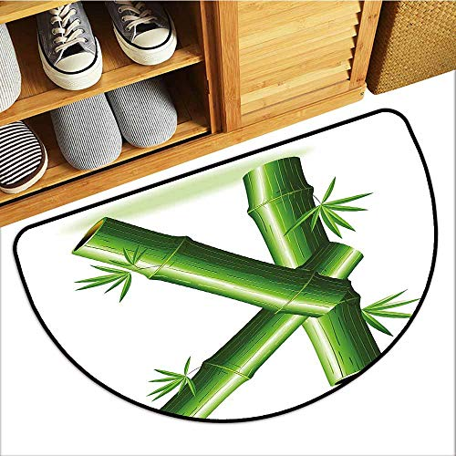 - TableCovers&Home Entrance Door Mat, Letter K Indoor Doormats for Bedroom, Bamboo Letter K Capital Green Leafs Nature Inspired Alphabet Font Design Print (Green White, H20 x D32 Semicircle)