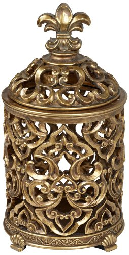 Fleur-de-Lis Tall Antique Gold Box (Kensington Bedroom Collection)