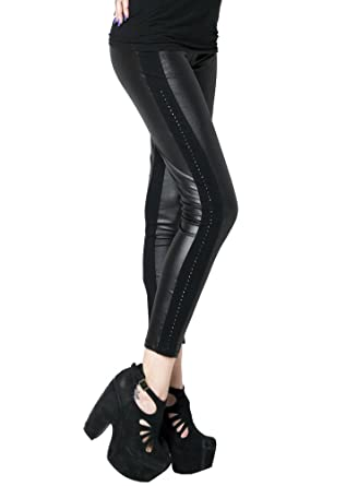 0cb6d436af5922 Fashion Mic Colored Side Detail Faux Leather Leggings at Amazon Women's  Clothing store: