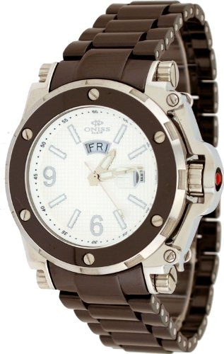 Oniss #ON670-M Men's Day/Date Sapphire Crystal White Dial Brown Ceramic Watch