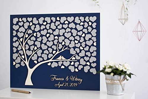 456Yedda Silver Tree Wedding Guest Book Alternative Tree Wood Custom Unique Guest Book Hearts Leaves Rustic Wedding Rustic Wooden Tree of Life