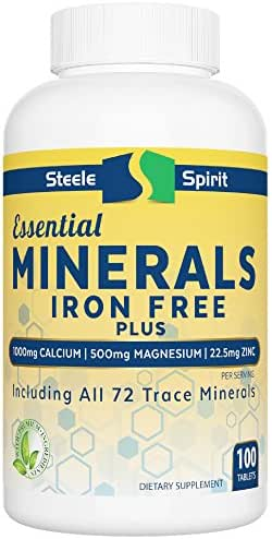 MultiMineral Plus 1000mg Calcium Magnesium Zinc D3 - All 72 Trace Minerals - Iron Free - 4-in-1 Benefits - Supports Strong Bones, Joint Flexibility, Heart Health & Immune System By Steele Spirit