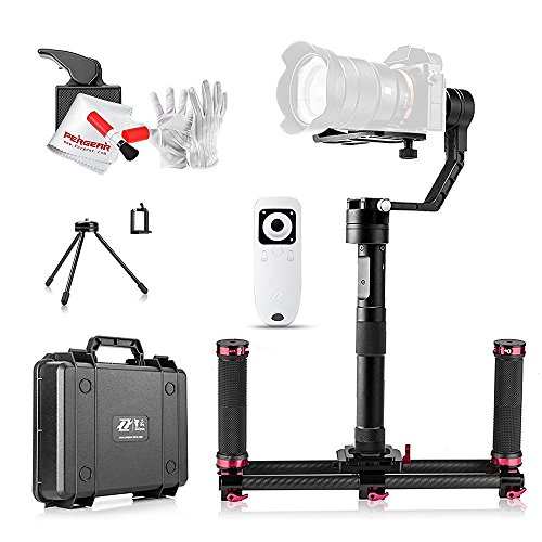 Zhiyun Crane 3 Axis Brushless Handheld Gimbal Stabilizer with Dual Handle Grip, Wireless Remote Control and other Useful Accessories for Mirrorless Cameras(Less Than 1800g)