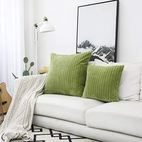 "UGASA Plush Velvet Corduroy Christmas Throw Euro Pillow Sham Cushion Cover for Bed, 24"" x 24"" (61 x 61 cm), Greenery"