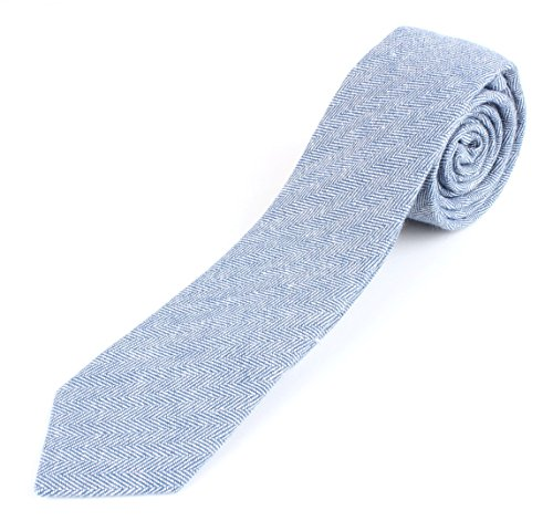 Cotton Tie Linen (Men's Cotton Linen Skinny Necktie Tie Colorful Fine Fishbone Grain - Light Blue)