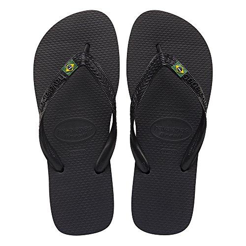 Havaianas Unisex Flip- Flop Logo Brazil Beach Sandals - Anytime Flip Flop Variation Of Colors & Style (43-44 BR/11/12 D(M) US, Preto - Havaianas Colours