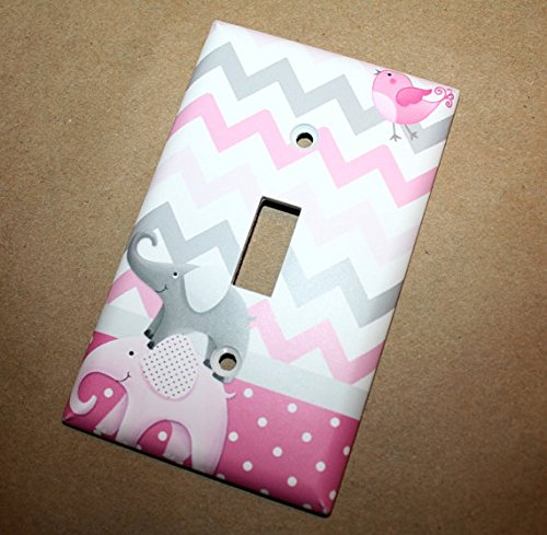 All Creatures Big and Small Pink Gray Elephants and Birdies Girls Bedroom Light Switch Cover LS0042 (Single Outlet) Toad and Lily LS0042c