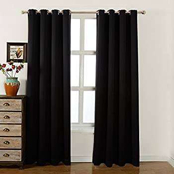eclipse fresno 52 by 84 inch blackout window curtain single panel black home. Black Bedroom Furniture Sets. Home Design Ideas