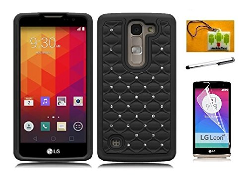 LG Escape 2 (AT&T) / LG Logos (US Cellular) / LG Spirit (Metro PCS), LF 4 in 1 Bundle, Hybrid dual Layer Spot Dazzle Case Cover, Stylus Pen, Screen Protector & Wiper Accessory (Spot Dazzle Black) (Cases Metro Spirit Phone Lg Pcs)
