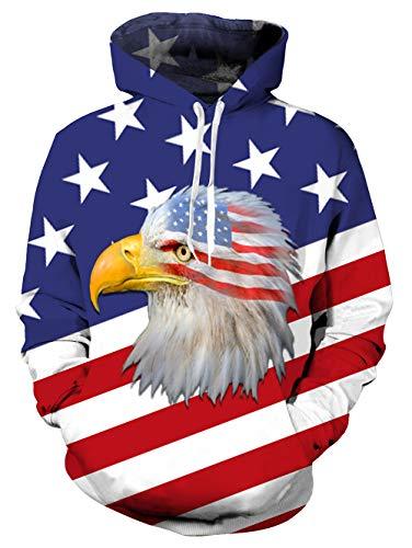 Uideazone 3D Print Male and Female Eagle American Flag Hoodie Jacket