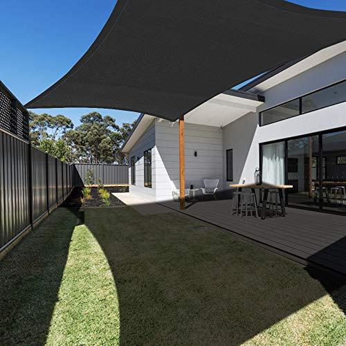 - Ankuka Waterproof 10' x 10' Sun Shade Sail Canopy Rectangle Sand UV Block for Outdoor Patio and Garden, Yard Activities, Black