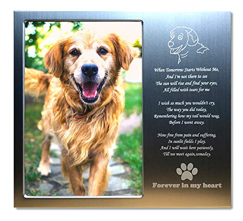 JOEZITON Pet Memorial Personalized Metal 4x6 Picture Frame Gift for Loss of Dogs.(01A)