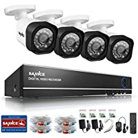 SANNCE 4-Channel HD 1080N Home Security System DVR and (4) 1.0MP Indoor/Outdoor Weatherproof CCTV Cameras with IR Night Vision LEDs, Remote Access - NO HDD