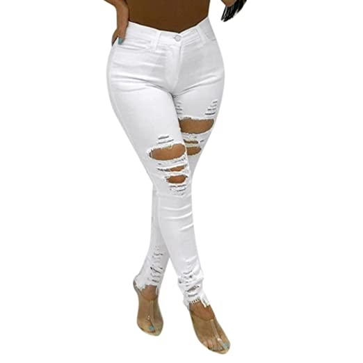dd558d25a45 Image Unavailable. Image not available for. Color  Womens Stylish Sexy  Trendy High Waist Skinny Elastic Denim Pants Holes Broken Pencil Jeans