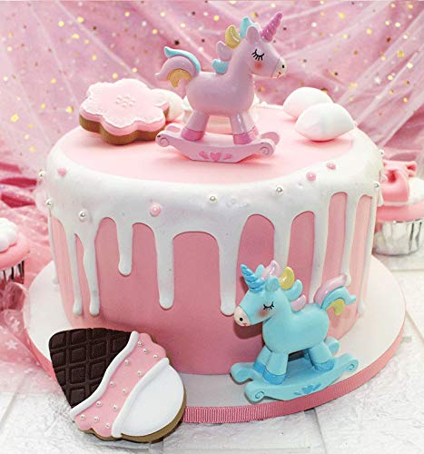 Unicorn Cake Topper Pink Resin Baby Shower Girl Birthday Party Decoration Table Centerpiece