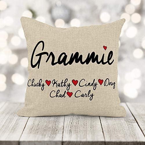 Girls Love A Monogram Personalized Grandparent Pillow Home Decor Keepsake Burlap Pillow Customize with Children and Grandparents Names Gift for Grandma, Grandpa, Gigi, Nana, Poppa, and Pawpaw