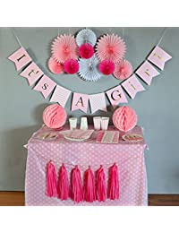 Baby Shower Decorations for Girl, It's A Girl, Banner, Tissue Paper, Fans, Honeycomb Paper Balls, Tassels, Pink, 13pcs., Gold Foil, Hanging ,Party Supplies ,Indoor/Outdoor BOBEBE Online Baby Store From New York to Miami and Los Angeles