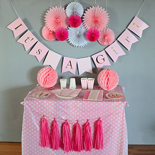 Baby Shower Decorations for Girl, It's A Girl, Banner, Tissue Paper, Fans, Honeycomb Paper Balls, Tassels, Pink, 13pcs., Gold Foil, Hanging ,Party Supplies ,Indoor/Outdoor