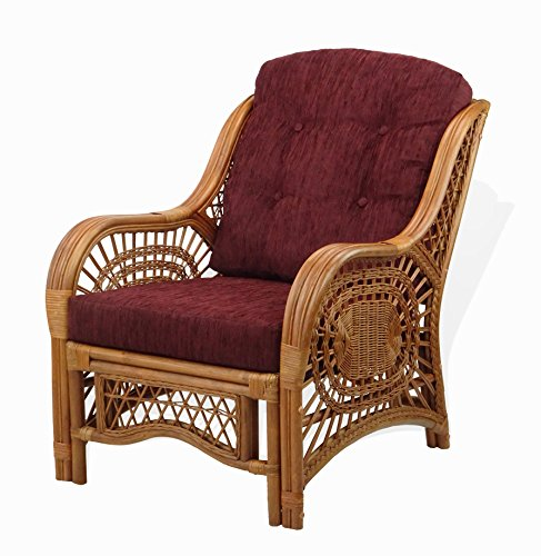 Malibu Lounge Armchair Natural Rattan Wicker Handmade Design with Dark Brown Cushion, Colonial